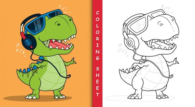 Fajny dinozaur słuchający muzyki przez słuchawki