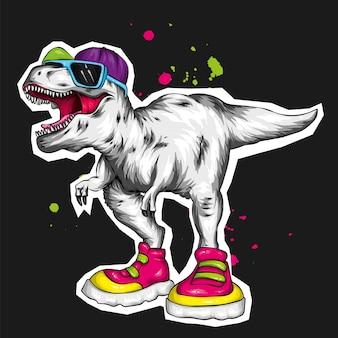 Fajny dinozaur w czapce, okularach i trampkach.