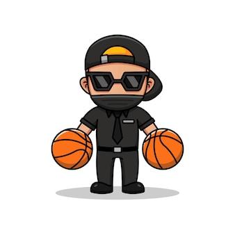 Fajny facet gra w koszykówkę na białym tle