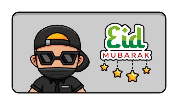 Fajny facet z pozdrowieniami eid mubarak