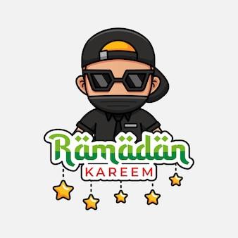 Fajny facet z pozdrowieniami z ramadanu kareem