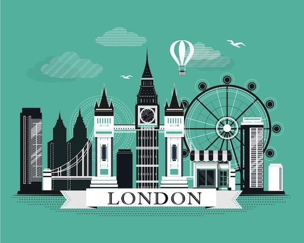 Fajny graficzny plakat panoramę londynu z retro wyglądającymi szczegółowymi elementami. krajobraz z zabytkami.