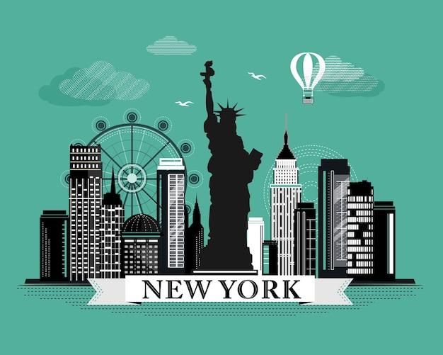 Fajny graficzny plakat panoramę nowego jorku z retro wyglądającymi szczegółowymi elementami. krajobraz nowego jorku z zabytkami