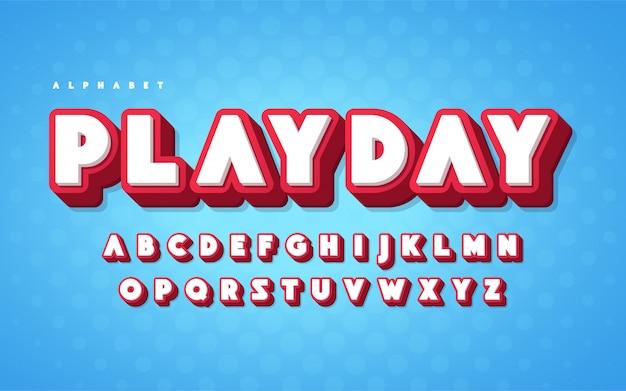 Fajny i zabawny angielski alfabet kreskówki 3d litery. ilustracji wektorowych