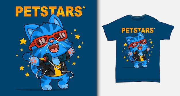Fajny kot kreskówka. z projektem koszulki.