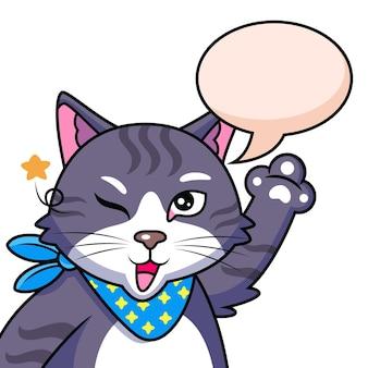 Fajny Kot Z Uroczą Pozą. Ilustracja Ikony Zwierząt Premium Wektorów