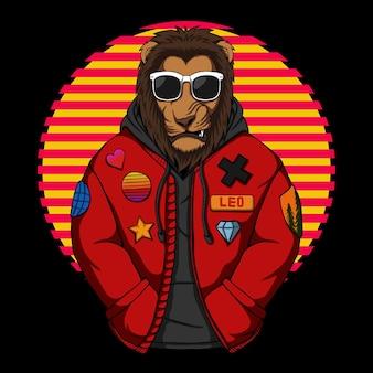 Fajny lew nosić kurtkę ilustracji wektorowych