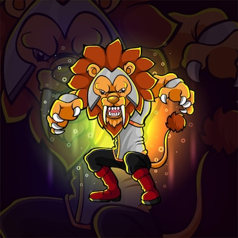 Fajny lew z długimi kłami z logo e-sportu na ilustracji