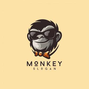 Fajny małpa logo wektor ilustrator gotowy do użycia