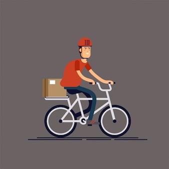 Fajny mężczyzna kurier osoba postać jazda rowerem z pudełkiem dostawy. kurierska dostawa rowerów. uniwersalne dostarczanie poczty w mieście lokalnym