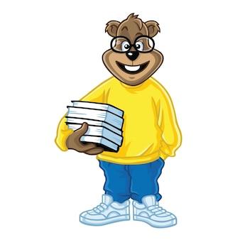 Fajny nerd bear trzymając książki postać kreskówki projekt wektor