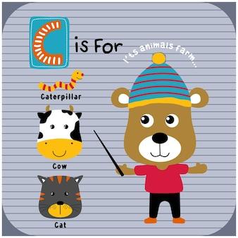 Fajny niedźwiedź i zwierzęta gospodarskie śmieszne kreskówki