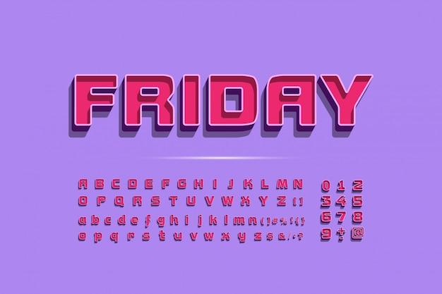 Fajny nowoczesny alfabet, modna czcionka