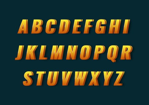 Fajny nowoczesny zestaw alfabetu 3d