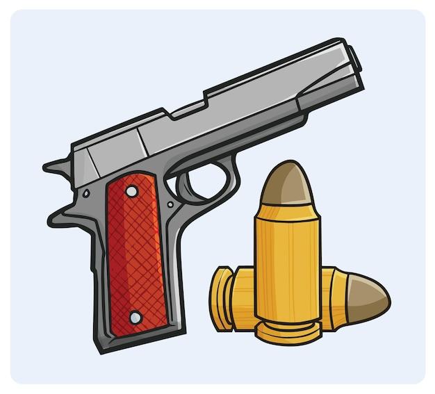 Fajny pistolet i kule w prostym stylu kreskówek