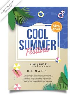 Fajny plakat festiwalu summer beach