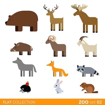 Fajny, płaski, modny styl zestaw ikon zwierząt. płaskie zoo dzieci dzikie gospodarstwo zwierzę domowe kolekcja kreskówek. kojpu niedźwiedź łania jeleń dzik baran koza wilk lis szop jeż królik zając nutria.