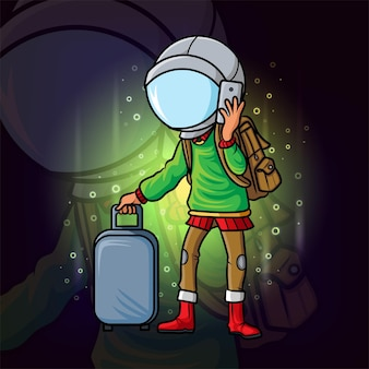 Fajny podróżnik z maskotką e-sportu z kaskiem astronauty z ilustracji