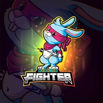 Fajny projekt logo esportowego wojownika królika z ilustracji