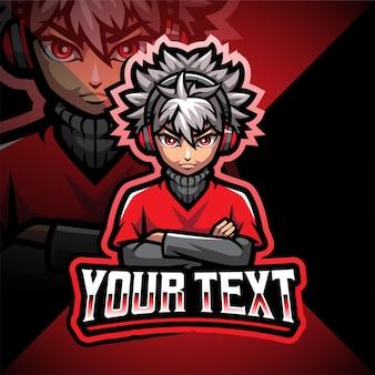 Fajny projekt logo maskotki e-sportu dla chłopca