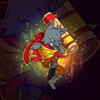 Fajny projekt maskotki wilka e-sportu na ilustracji
