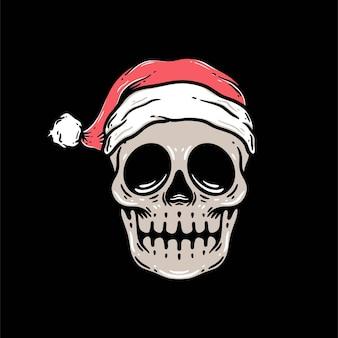 Fajny świąteczny szablon wektor premium w stylu czaszki świętego mikołaja