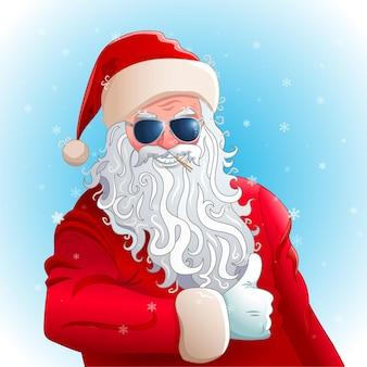 Fajny święty mikołaj w okularach przeciwsłonecznych wyświetlono kciuk. ilustracja wektorowa na plakat zaproszenie na przyjęcie świąteczne. zimowe tło z płatkami śniegu