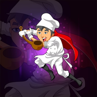 Fajny szef kuchni trzyma drewnianą kadzi do projektowania logo e-sportu na ilustracji