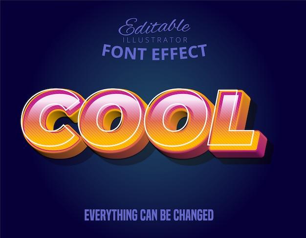 Fajny tekst, efekt edytowalnej czcionki w kolorze pomarańczowym i fioletowym 3d