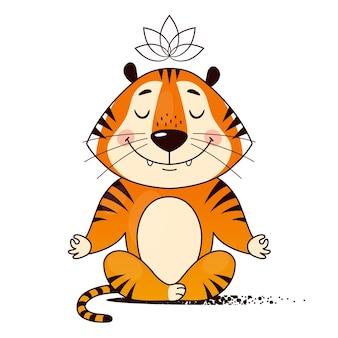 Fajny tygrys z kreskówek robi jogę siedząc w pozycji lotosu