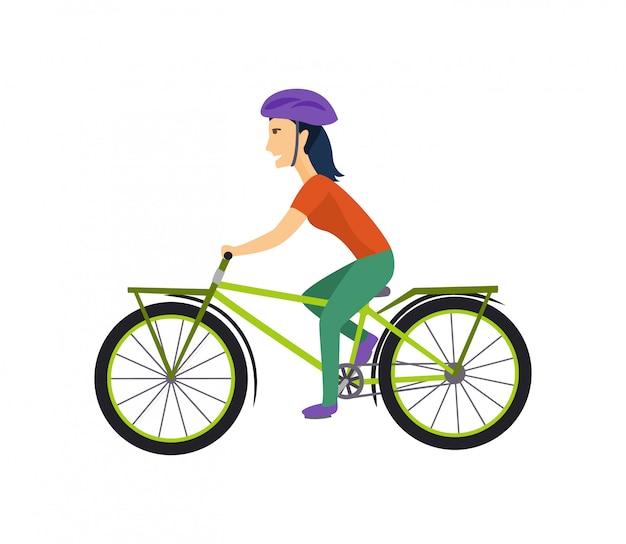 Fajny wektor znak na dorosłej młodej kobiecie, jazda na rowerach