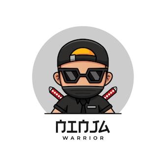 Fajny wojownik ninja z logo w czarnym garniturze