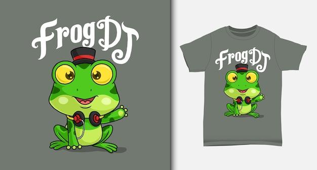 Fajny żaba disc jockey. z projektem koszulki.