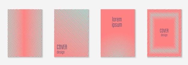Fajny zestaw szablonów okładki. minimalny modny wektor z gradientami półtonów. geometryczny fajny szablon okładki do ulotki, plakatu, broszury i zaproszenia. minimalistyczne kolorowe kształty. streszczenie ilustracji.