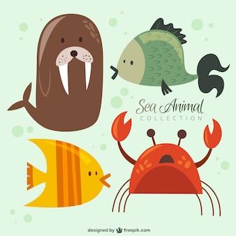 Fajny zestaw zwierząt morskich