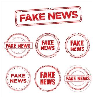 Fake news kolekcja znaczków grunge retro vintage design