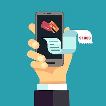 Faktura elektroniczna. paragon na telefon komórkowy, rachunek online. cyfrowy transfer wydatków finansowych. ręka wektor trzymać smartfon z ilustracją długiego czeku płacowego. ilustracja rachunku, paragonu i faktury