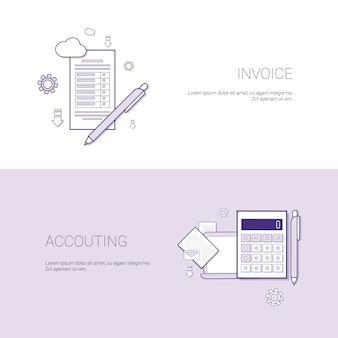 Faktura i księgowość szablon finansowy web banner z kopią miejsca