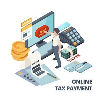 Faktura płatnicza online. koncepcja izometryczna usług księgowych rachunków podatkowych