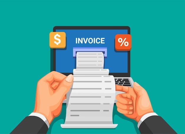 Faktura z laptopa. koncepcja płatności mobilnych i zarządzania finansami w kreskówce