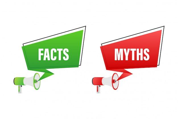 Fakty mitów. fakty, świetny design do wszelkich celów. ilustracji.