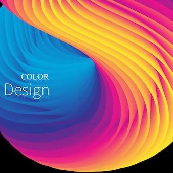 Fala 3d. płynne kolory. płynny kształt.