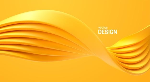 Fala abstrakcyjne kształty geometryczne na białym tle na żółtym tle