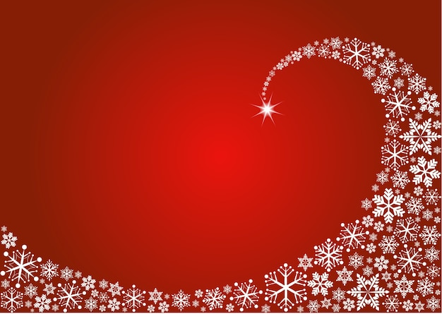 Fala białych płatków śniegu na czerwonym tle. szablon plakatu