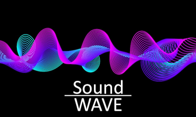 Fala dźwiękowa. abstrakcyjny kształt 3d. pływ .