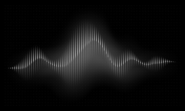 Fala dźwiękowa. ilustracja puls muzyki streszczenie. fala radiowa rytm głosu audio, wektor widma częstotliwości
