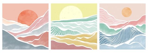 Fala górska i oceaniczna na planie. abstrakcyjne współczesne krajobrazy estetyczne tła. ilustracje wektorowe