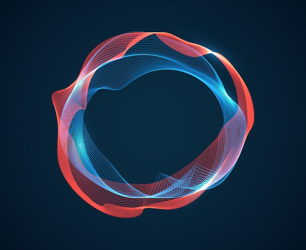Fala kręgu muzyki. fale dźwiękowe emitują strumień fal. linie neonowe spektrum muzycznego. cyfrowego audio pracowniany abstrakcjonistyczny tło