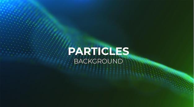 Fala niebieskich i zielonych cząstek abstrakcyjne tło przepływu technologii