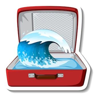 Fala oceanu w otwartej walizce